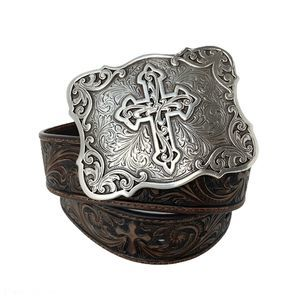 Nocona Tooled Leather Belt with Cross Buckle